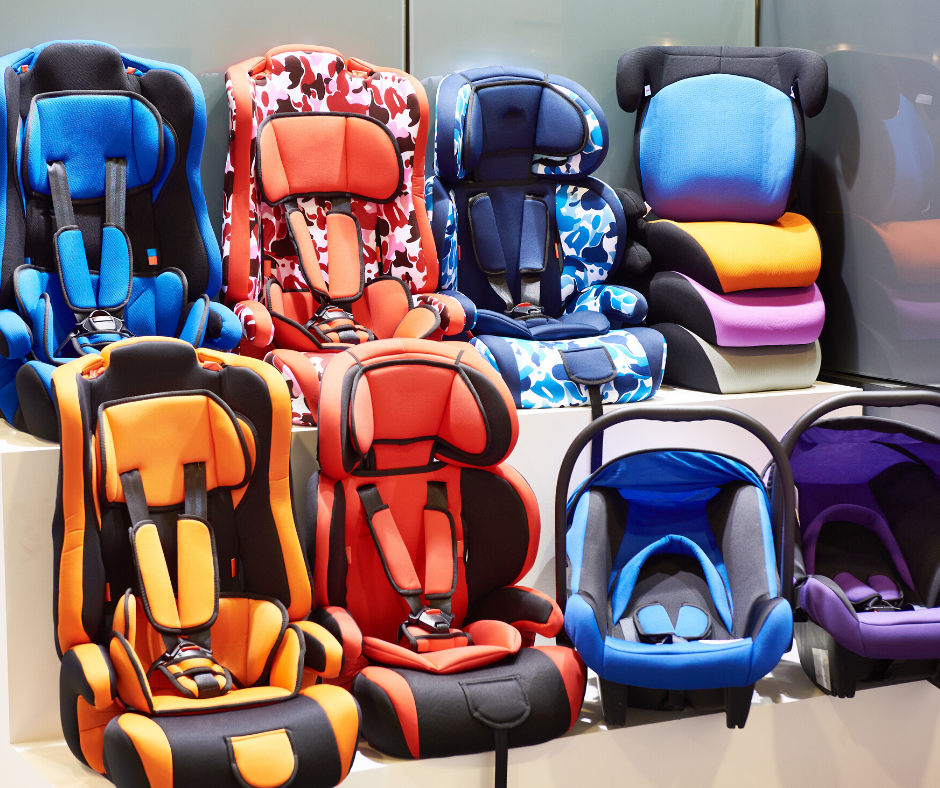 colorful variety of car seats