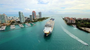 The Norwegian Encore leaving port in Miami FL.