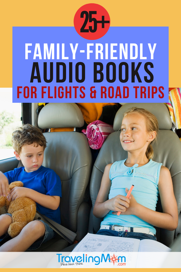 More than 25 of the best family audiobooks are described in this article. The image shows two kids in a packed vehicle.