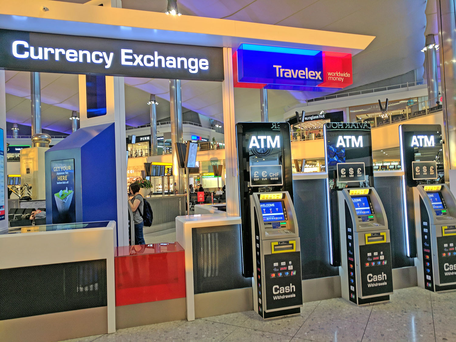 Airport kiosk is the last place to exchange money foreign currency.