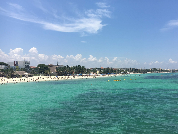 View of the main beach of Playa del Carmen from the pier.
