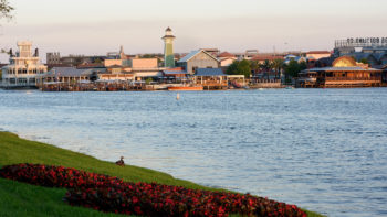 view of Disney Springs across the water