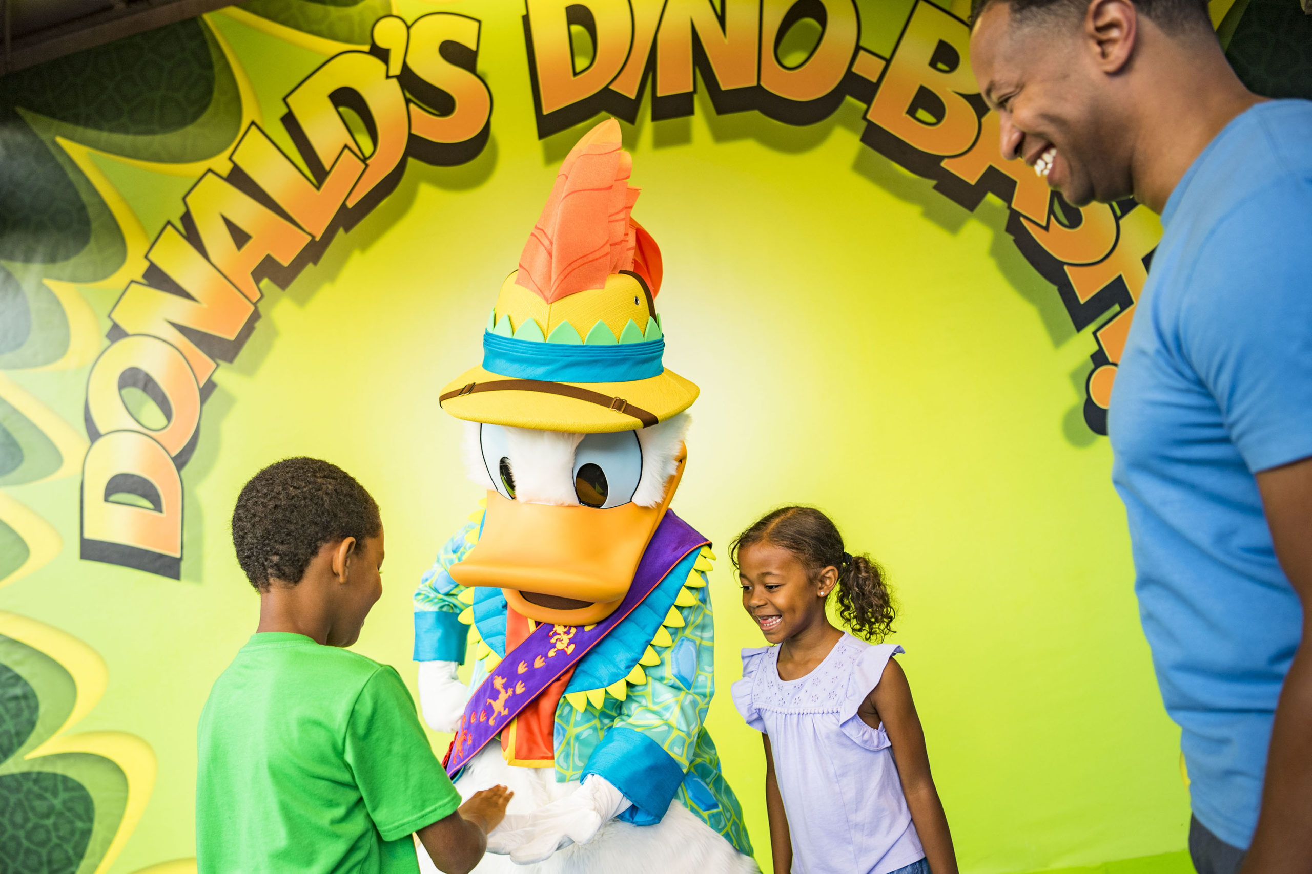 Donald Duck and toddlers at Disney's Animal Kingdom