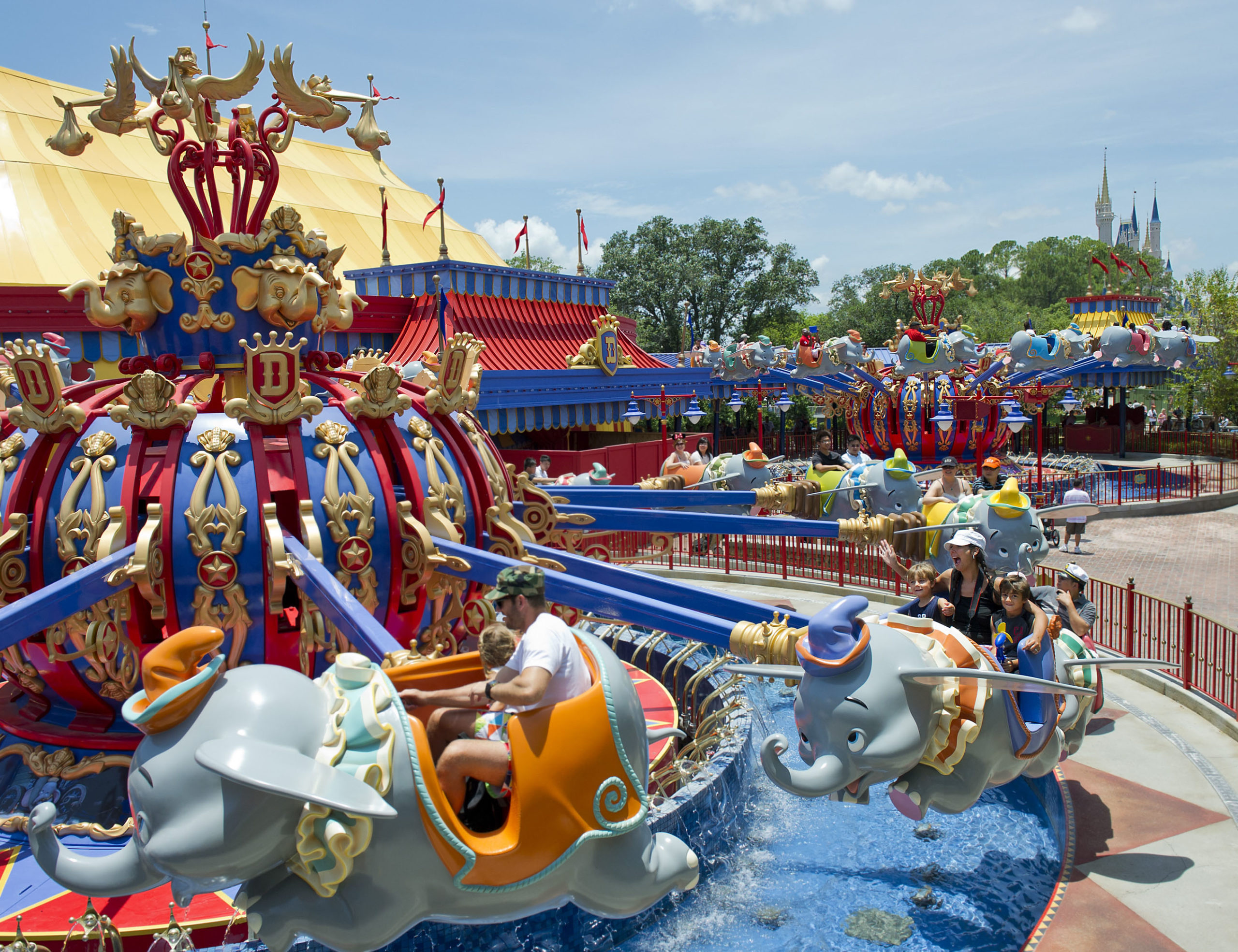 Toddlers on the Dumbo ride in Disney Magic Kingdom
