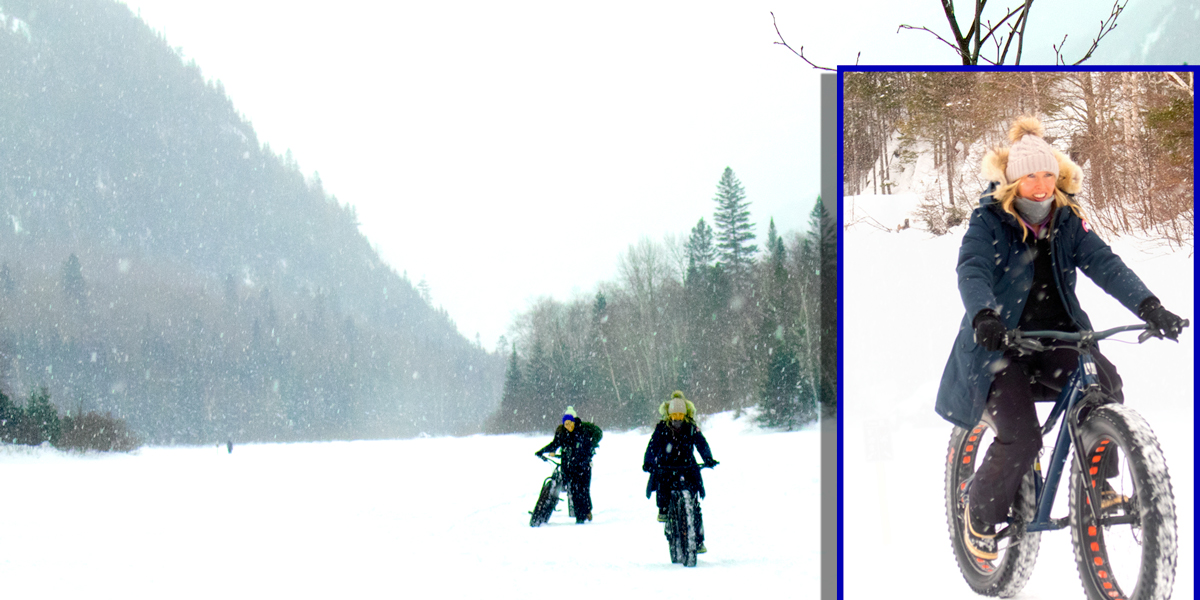 photo of two women with fat tire bikes in the snow and an inset of a woman riding quickly on a snow-covered trail