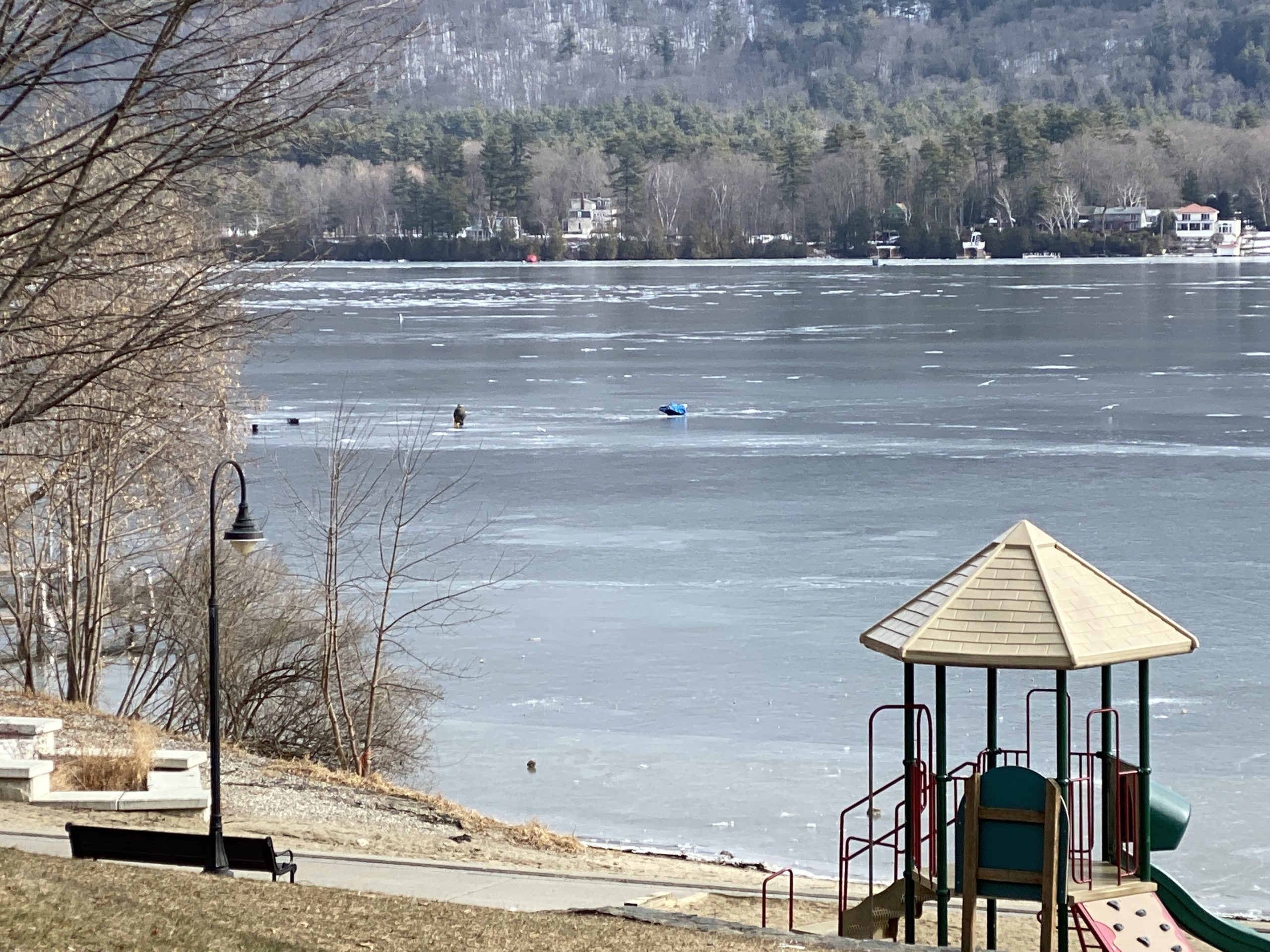 ice fishing on Lake George is a fun wintery thing to do