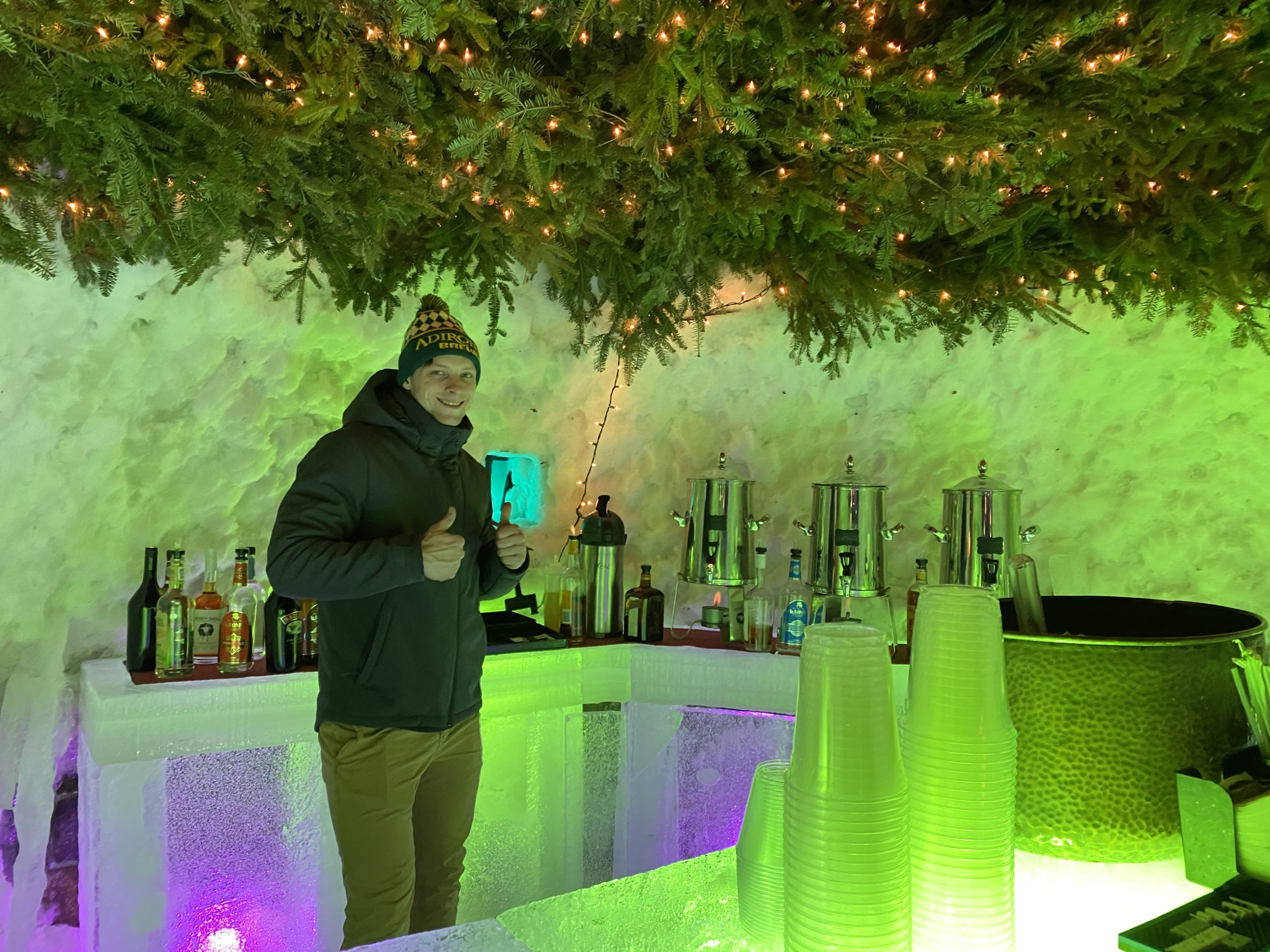 visiting the ice bars in the Lake George region of New York