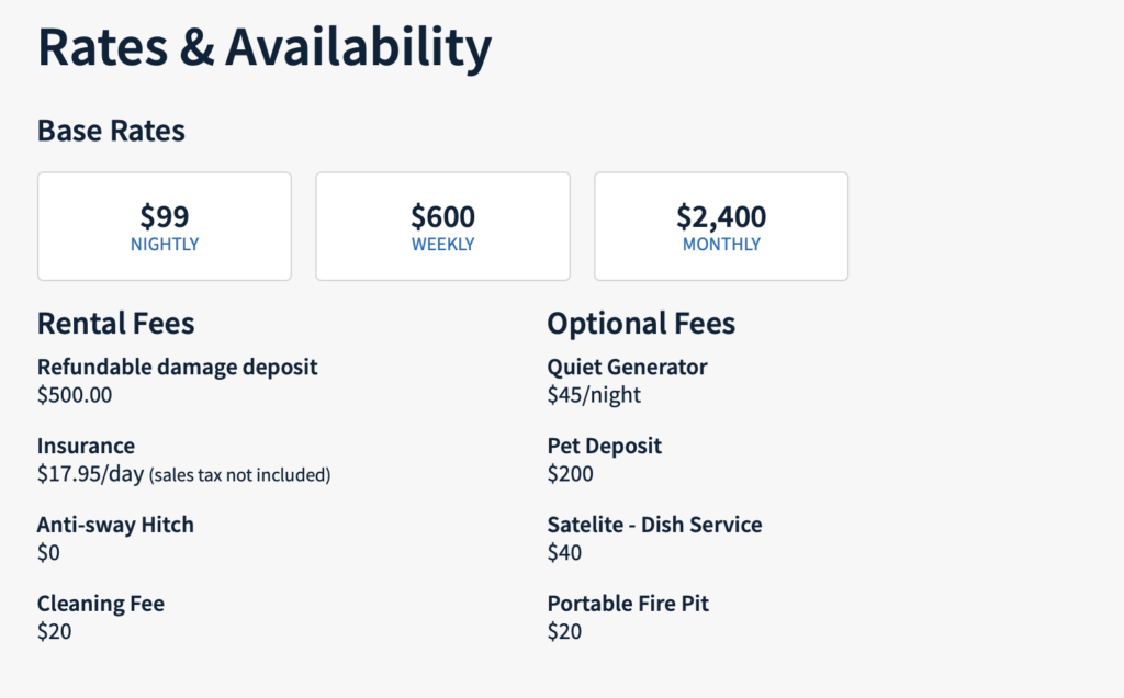 RVshare rental fees