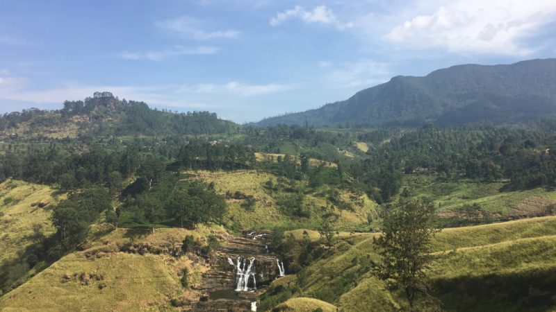 Sri Lanka highlands view with tea plantations mountains and waterfalls