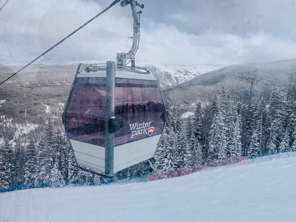 Riding the gondola up the mountain at Winter Park