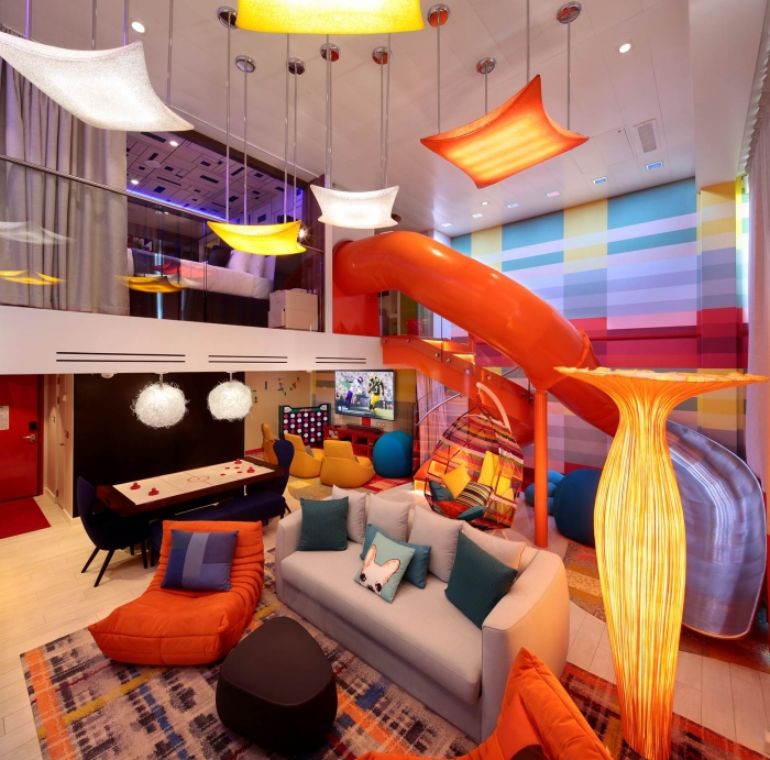 For the ultimate splurge in family suites, consider the Ultimate Family Suite. A slide, in-suite media/game room and space for 6 to sleep are just part of the features in this suite. Definitely give this a look when planning a Royal Caribbean cruise!