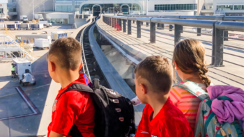 Tram at the Orlando airport - TravelingMom