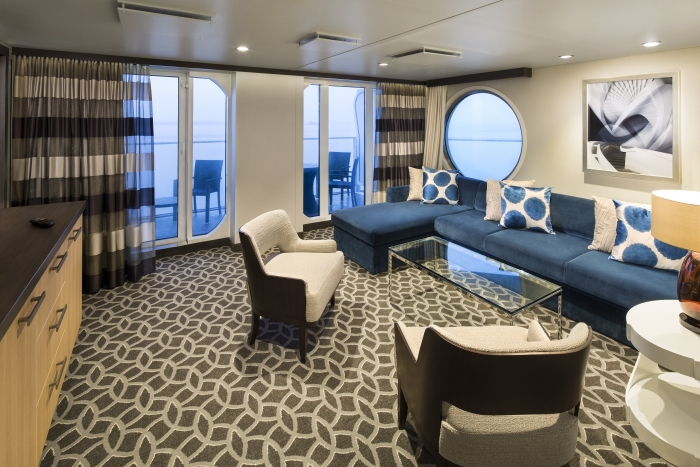 Get the largest space you can afford - check out this awesome family suite when planning a Royal Caribbean cruise!