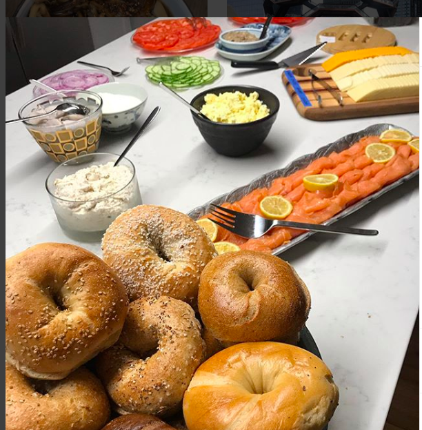 table set with NYC bagels and fixings