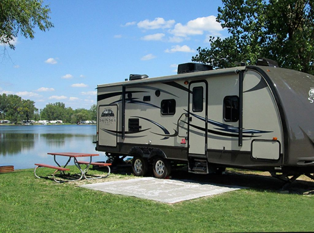 Rented RV by a lake - TravelingMom