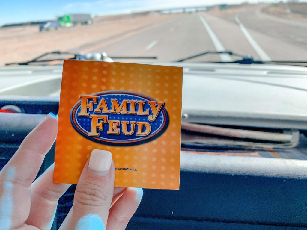 family feud card being held up in RV