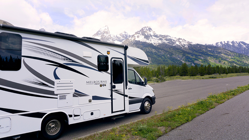 RV with mountain view