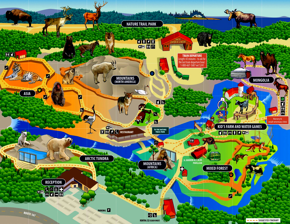 graphic, map of Zoo Sauvage