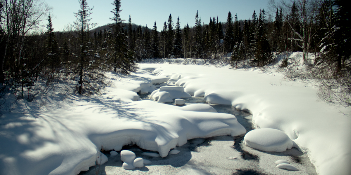 photo, snow and ice-covered sstream