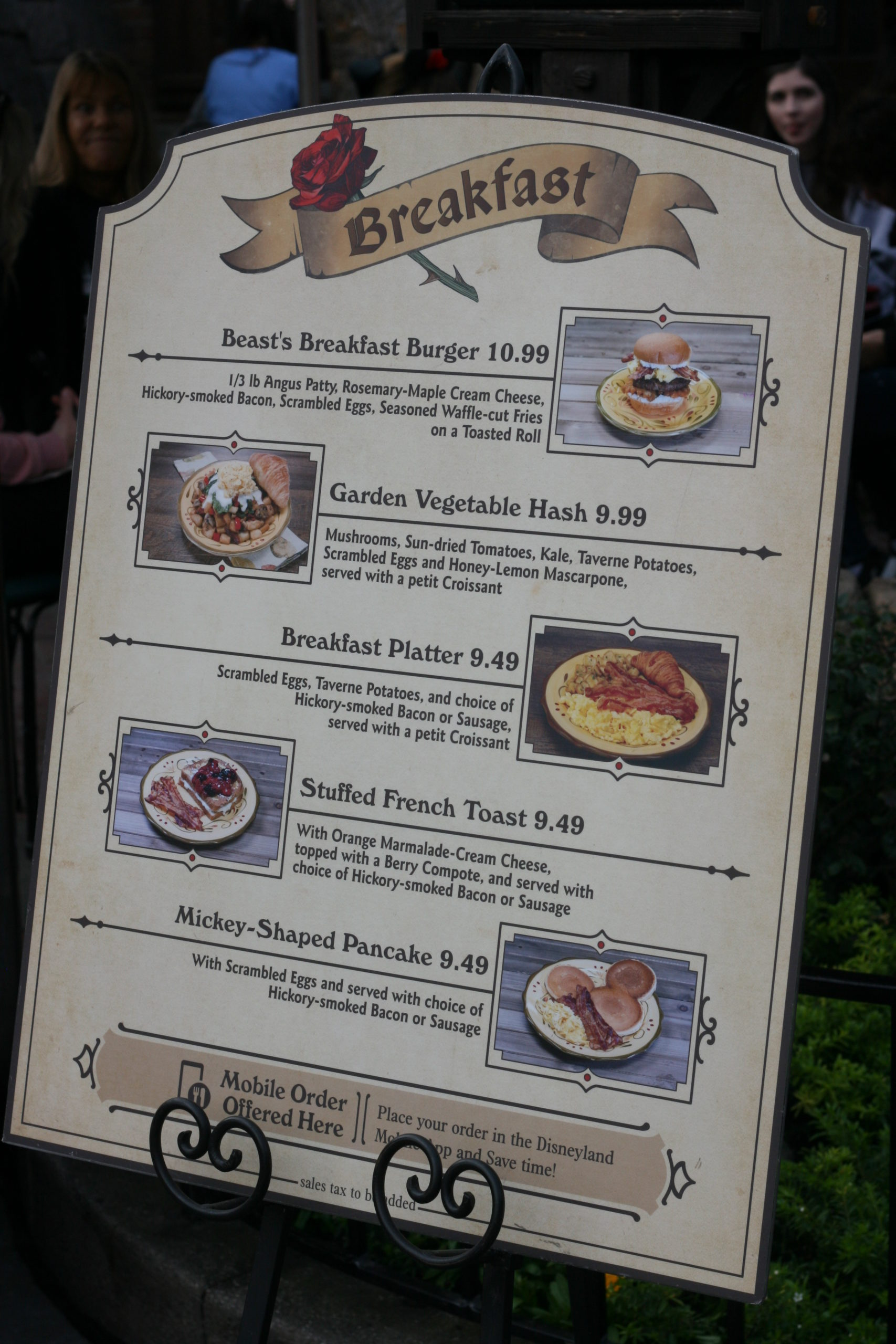 Breakfast options at Red Rose Taverne at a favorite Disneyland restaurant