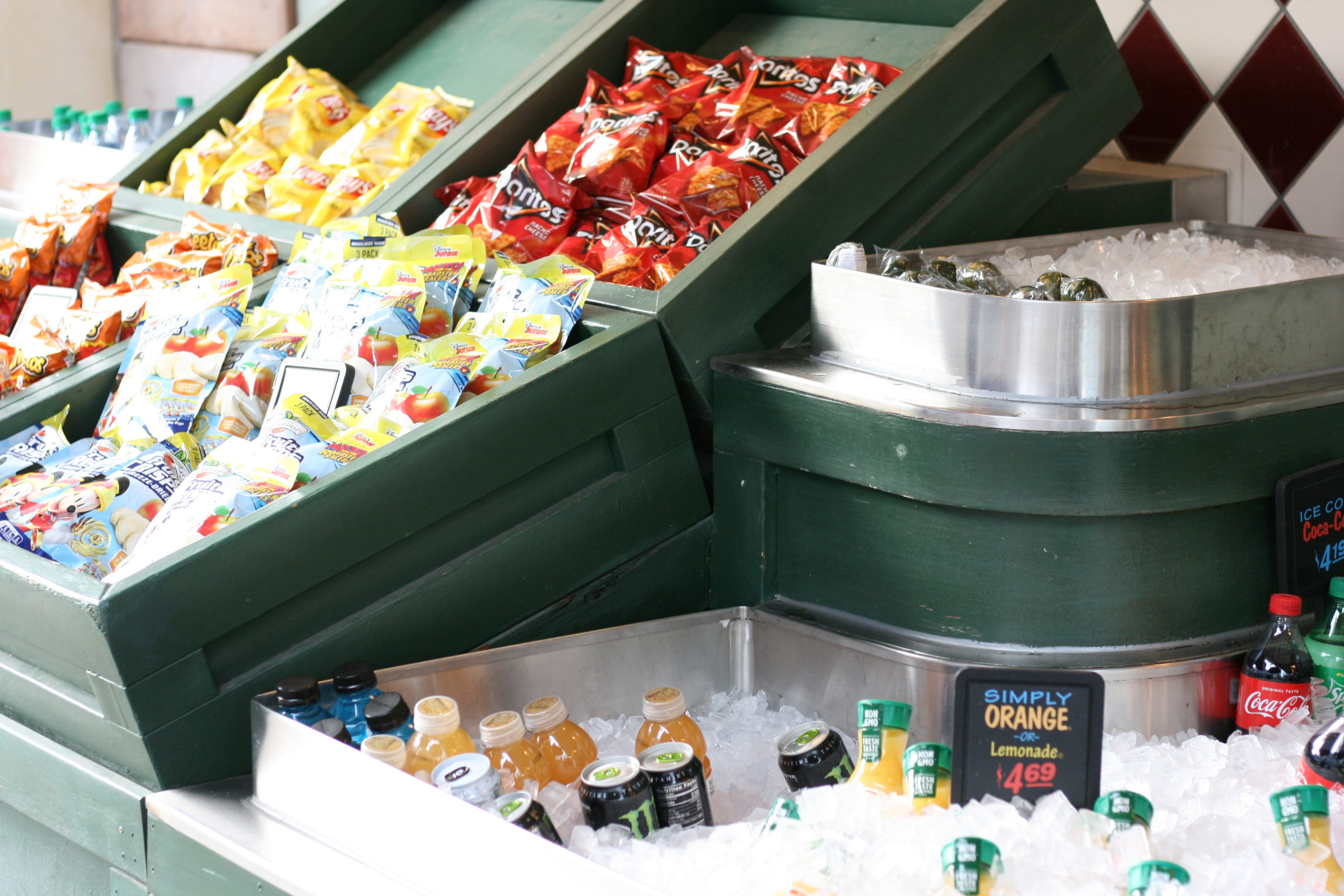 Snack cart with healthy foods at Disneyland quick service
