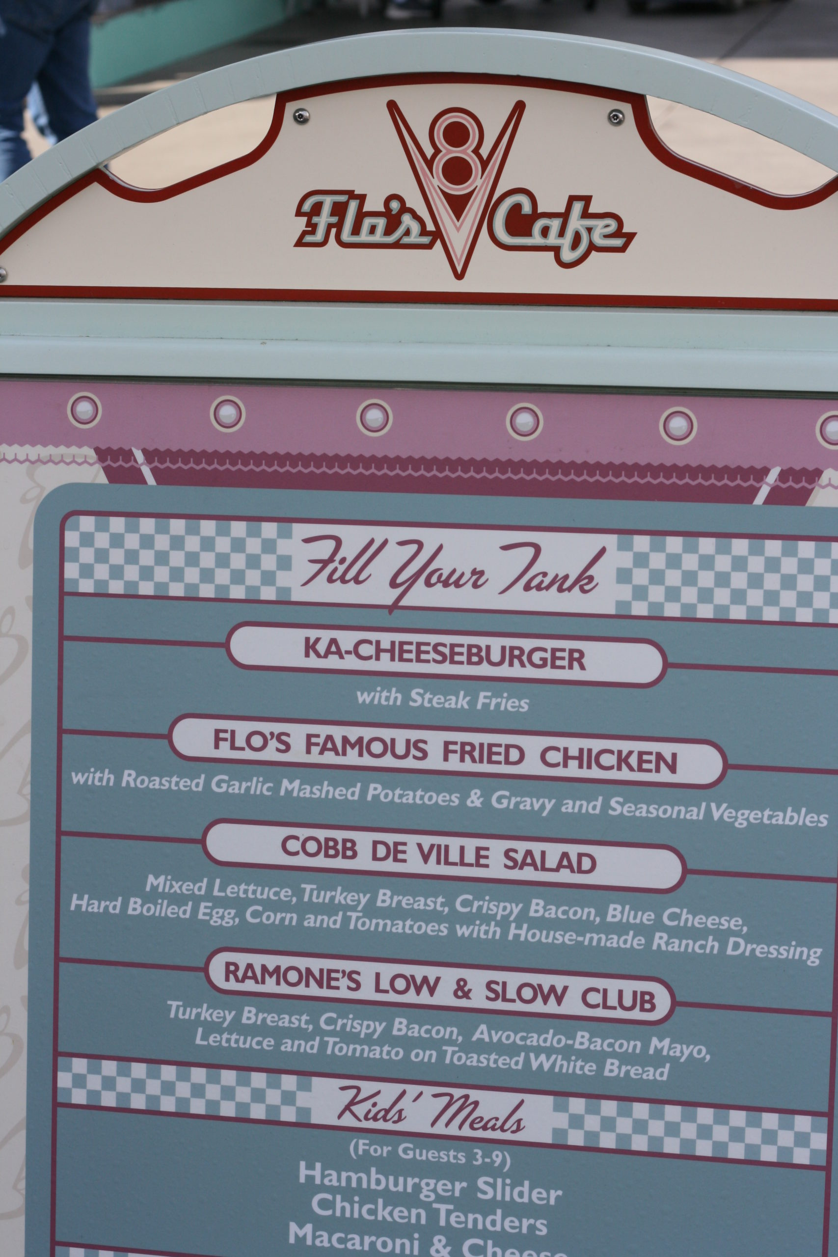 Flo's V-8 Cafe menu options at this iconic Disneyland dining center.