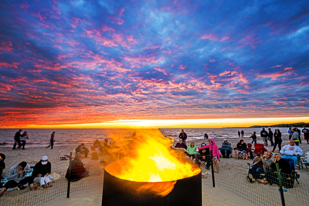 Sunset beach bonfires -- one of the fun free things to do in Ludington