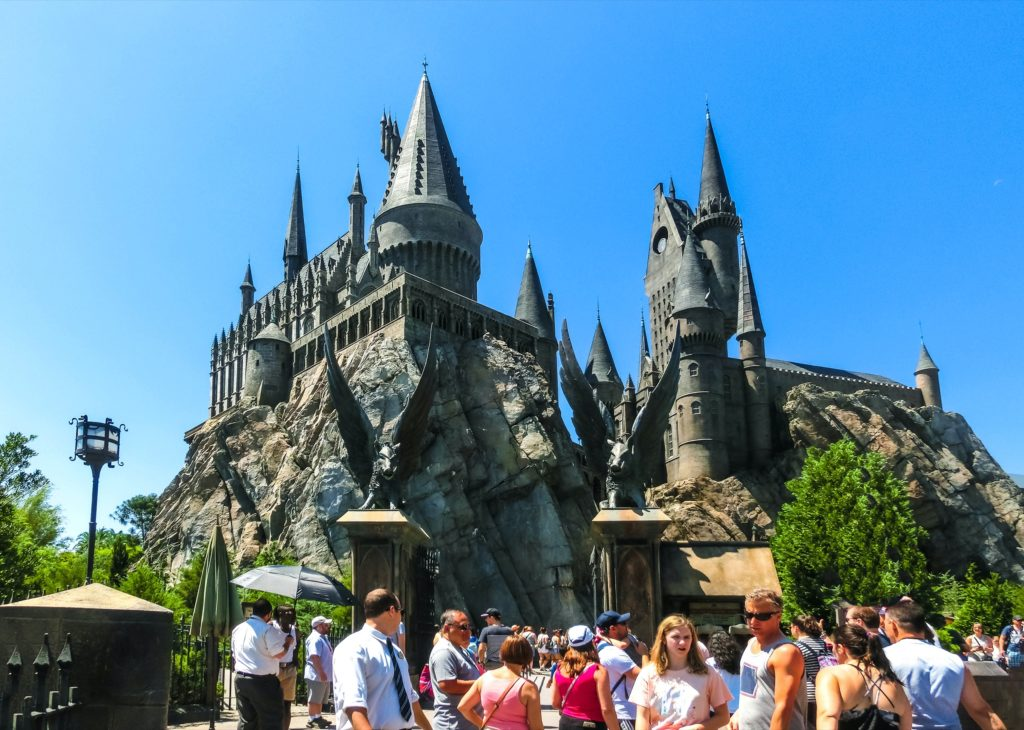A clear blue sky over Hogwarts Castle at Universal Studios in Orlando. The castle is the setting of the ride Harry Potter and the Forbidden Journey at this theme park / amusement park.
