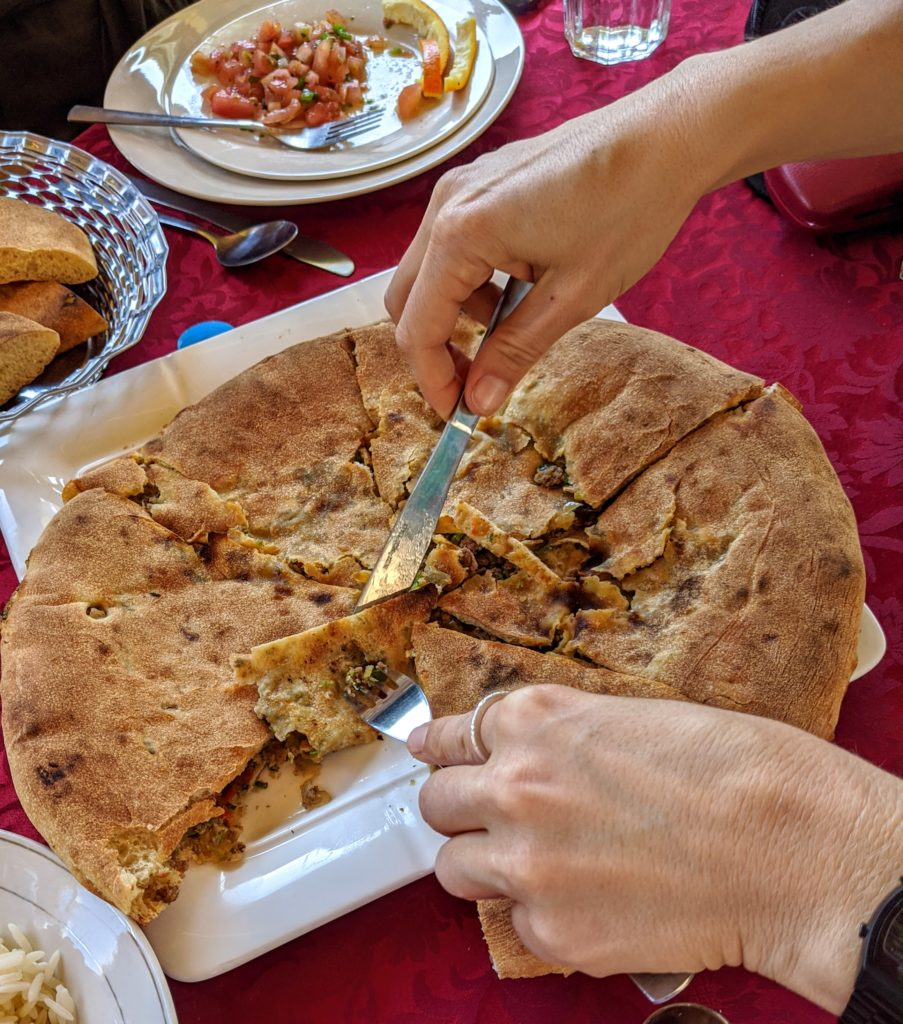 Berber pizza, called Medfouna.