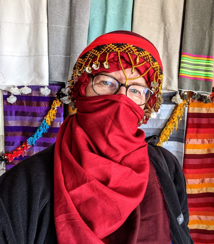 Writer in a traditional Moroccan scarf