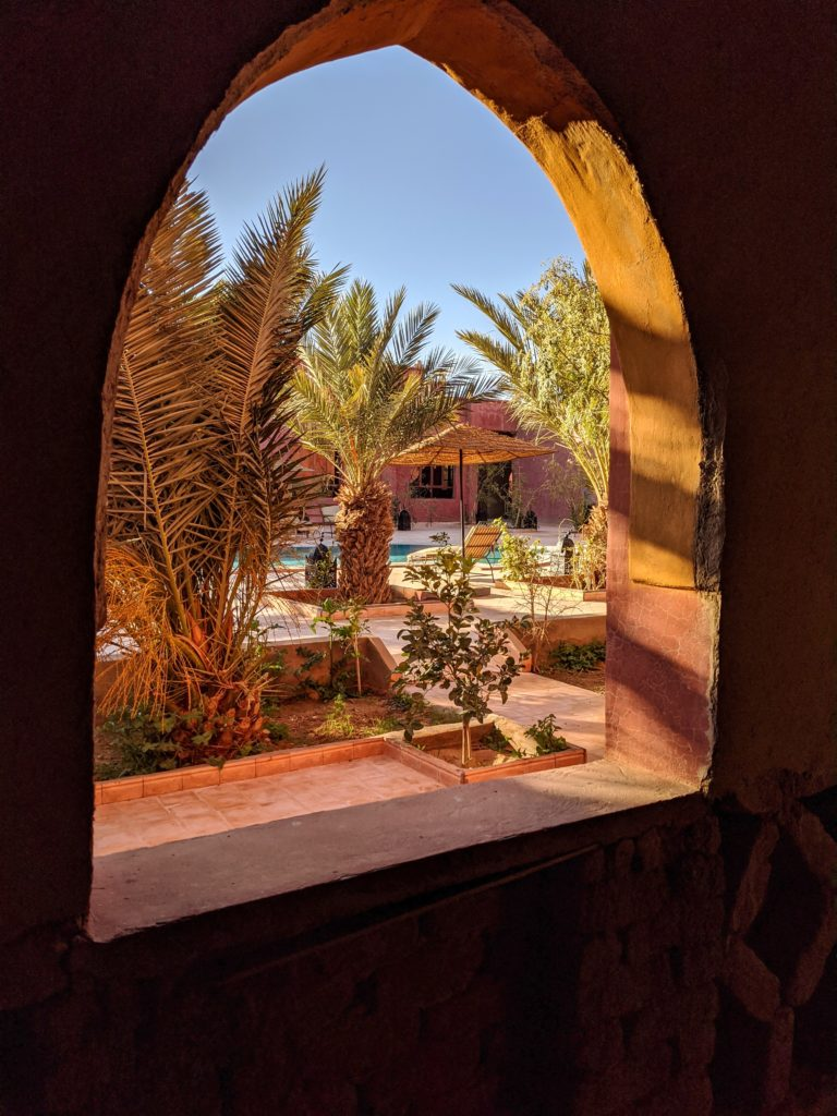 View from a window at the Hotel Nomad Palace in Morocco.