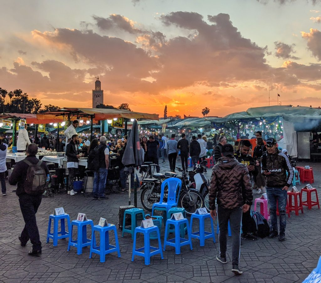 Sun setting over the souk in Marrakech Morocco.