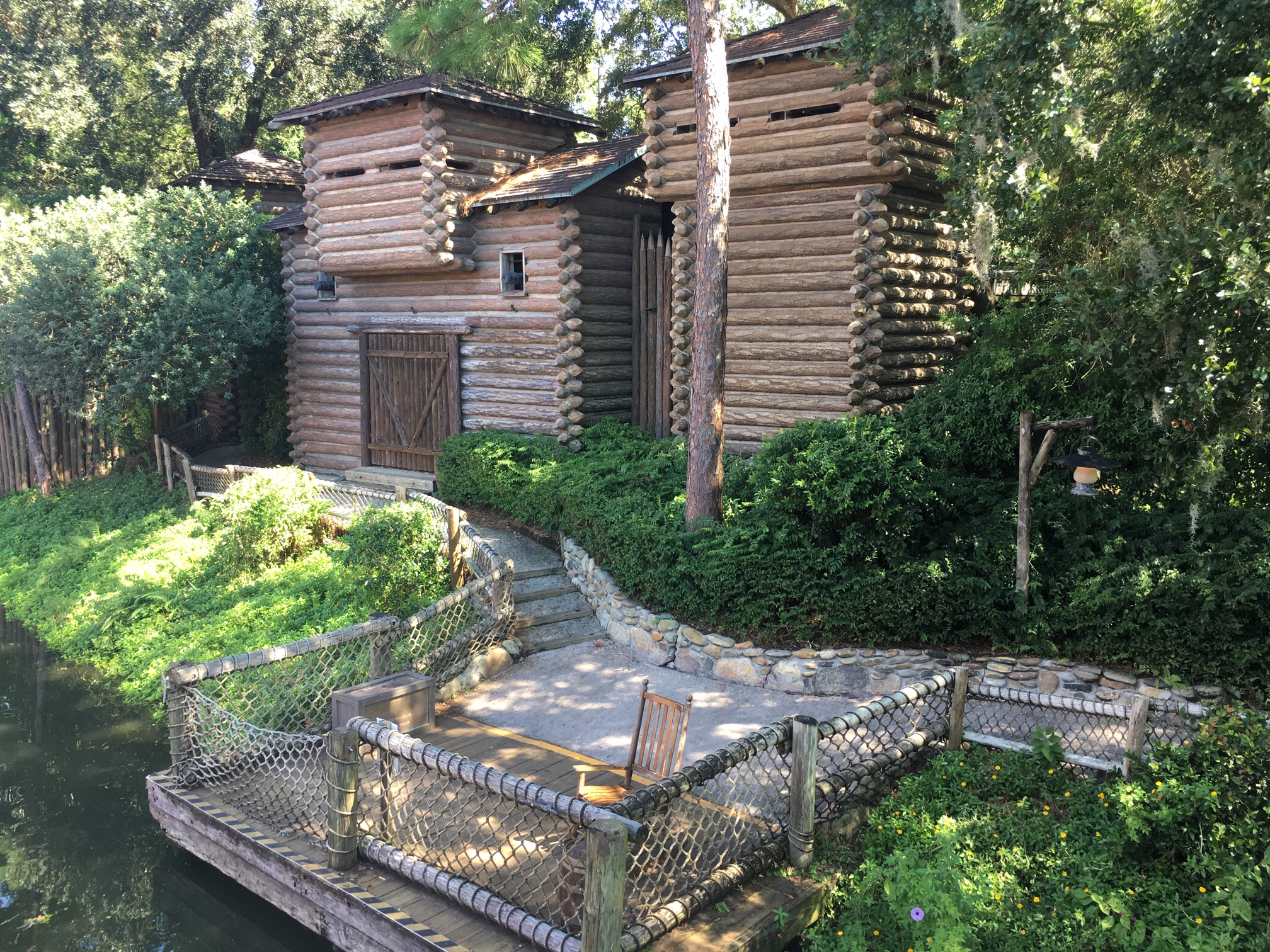 A great Disney World thrill ride alternative is exploring log structures and mine shafts on Tom Sawyer Island