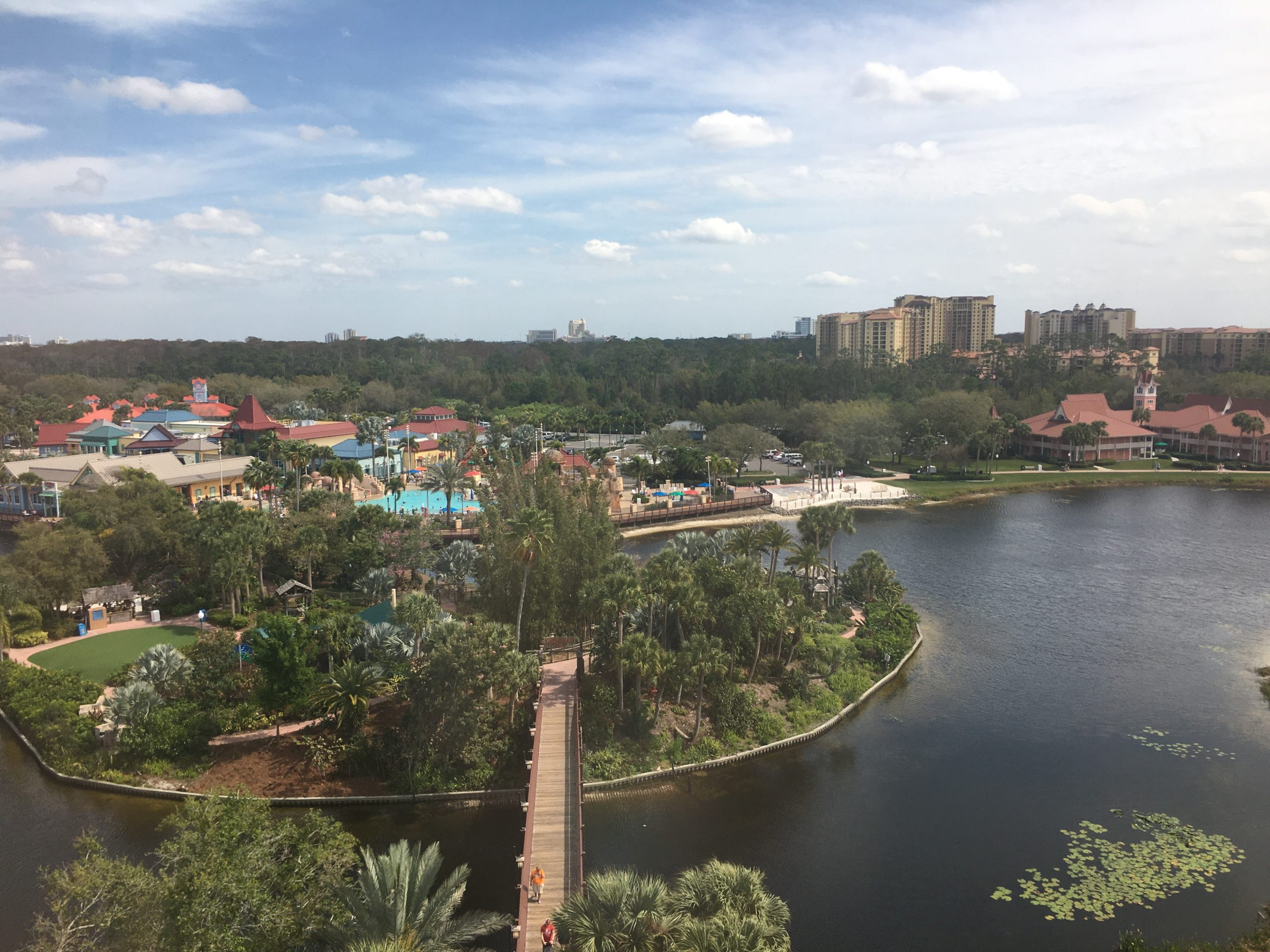 birdseye view from Disney Skyliner coming into Caribbean Beach resort