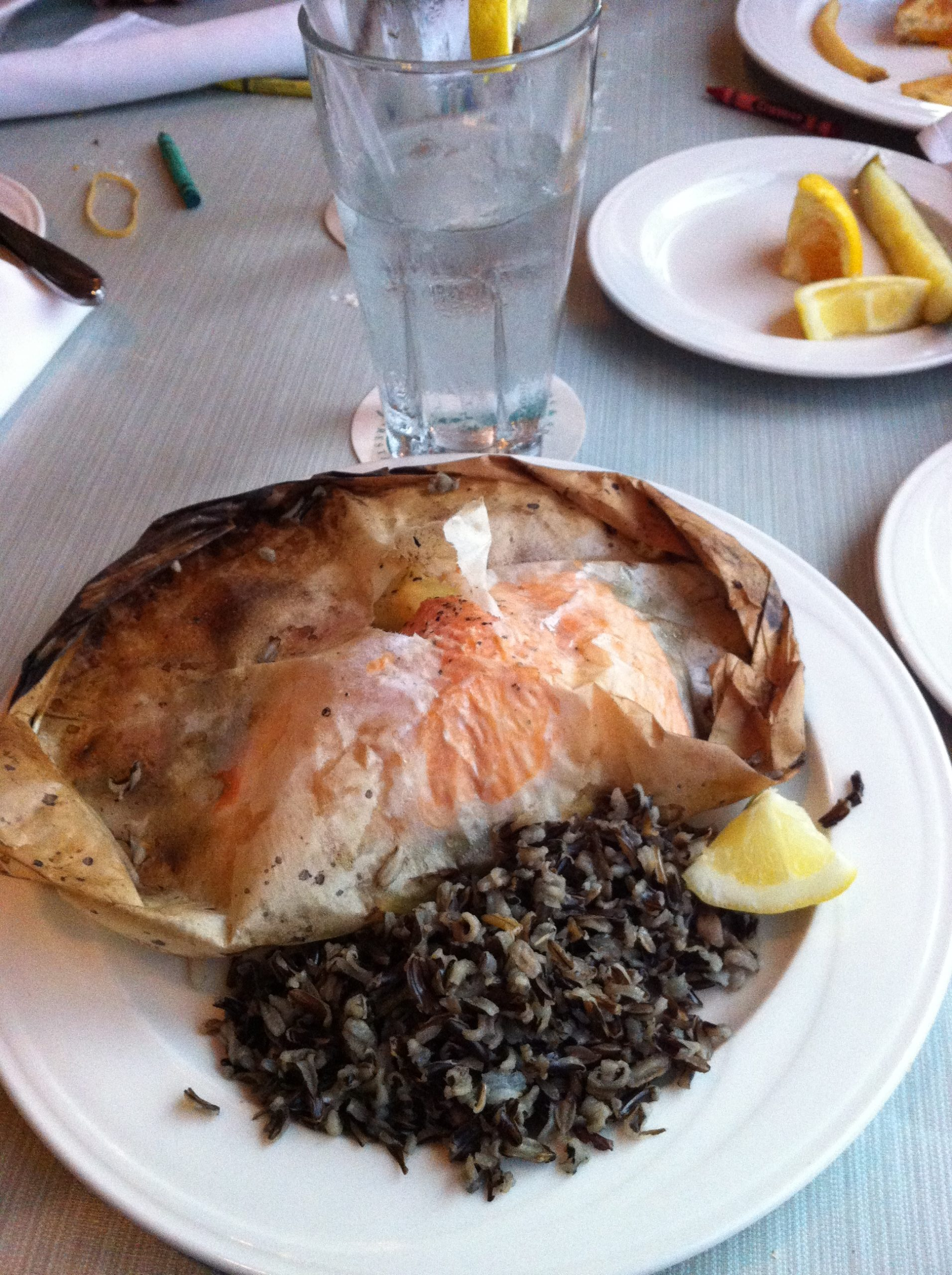 Salmon and wild rice at The Pilot House, one of many Wilmington NC restaurants.