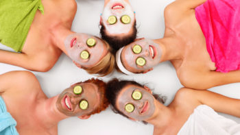 5 women getting spa facials