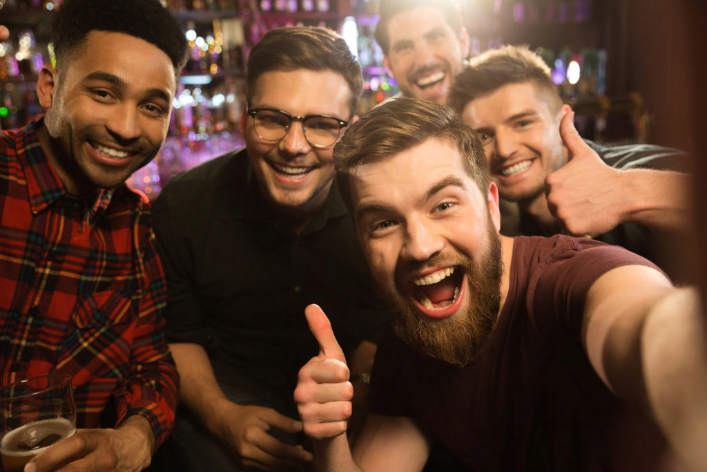 Guys take a selfie on an adults only night out