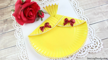 Belle dress paper plate Disney craft