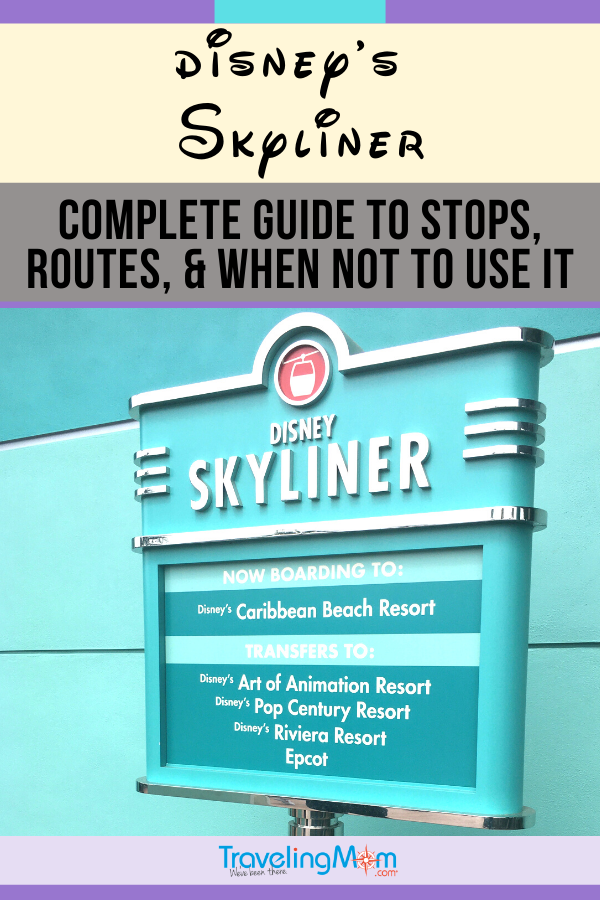 sign for disney's skyliner listing stops
