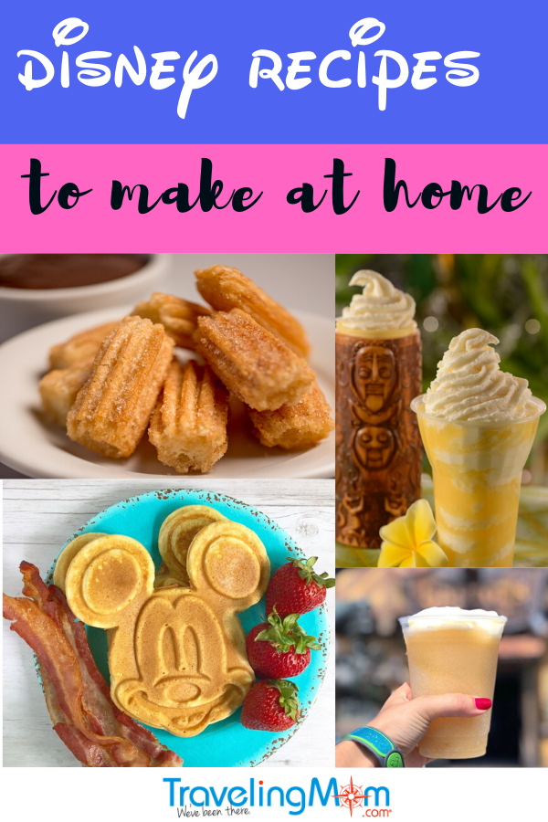 plate of cinnamon sugar churros, Disney mickey waffles with bacon and strawberries, dole whip from Disney's Polynesian resort next to tiki glass and orchid, Lefou's brew taken against background of Gaston's Tavern with a Disney magic band not wrist
