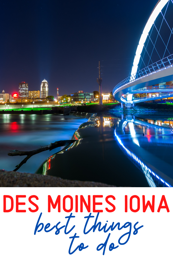 des moines skyline woman achievement bridge iowa