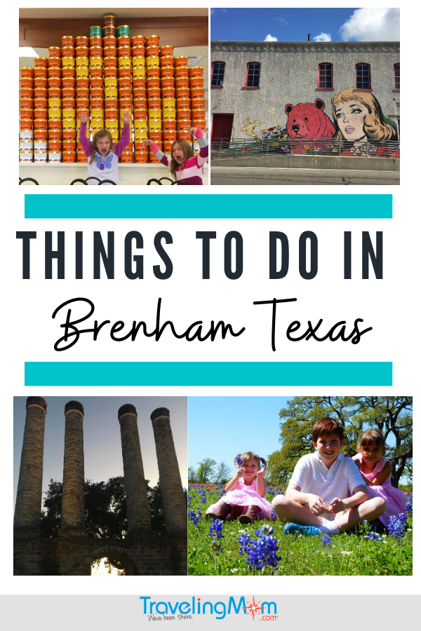 pinterest pin with the words things to do in Brenham texas top left image of girls in front of jack o'lantern made of ice cream containers, top right image large mural with blonde girl and red bear, bottom left, towers at old baylor park, bottom right three kids in field of bluebonnets