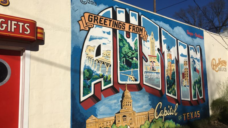 greetings form austin postcard mural