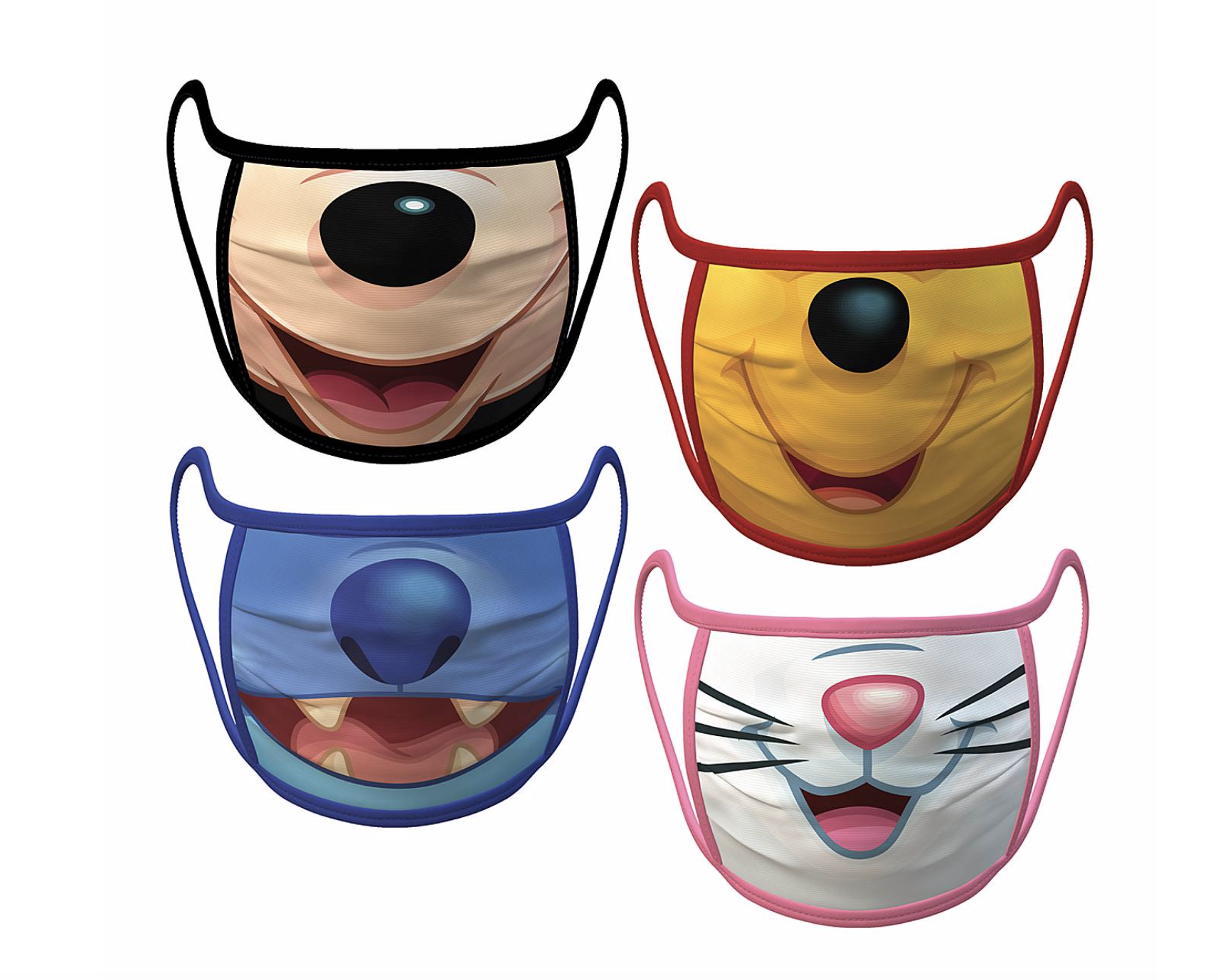 disney face masks stitch, pooh, aristocrat and mickey shop disney