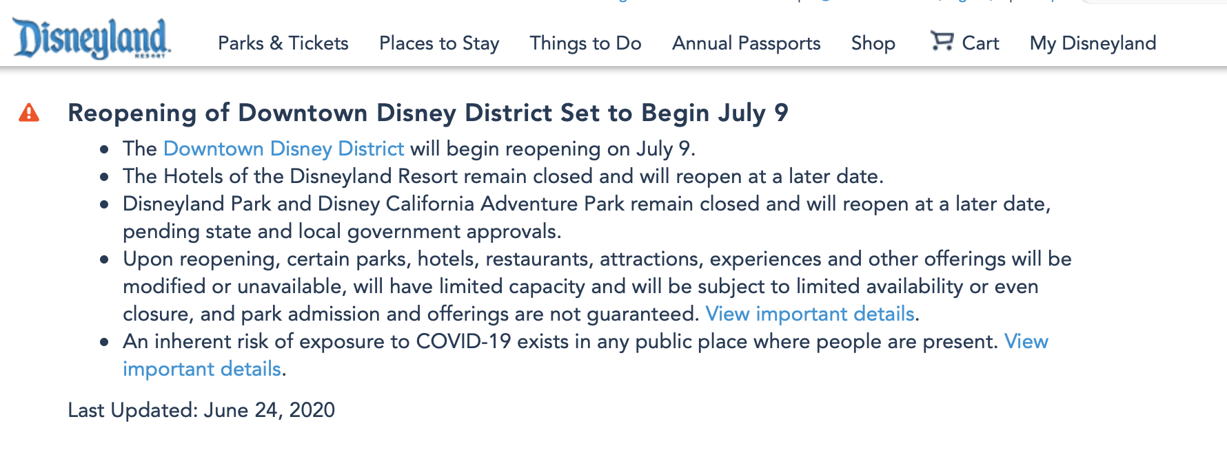 disneyland announcement with dates taken off