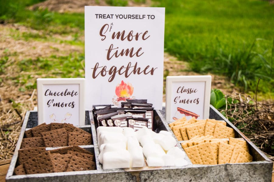 s'mores ingredients with Treat yourself to S'more time together sign