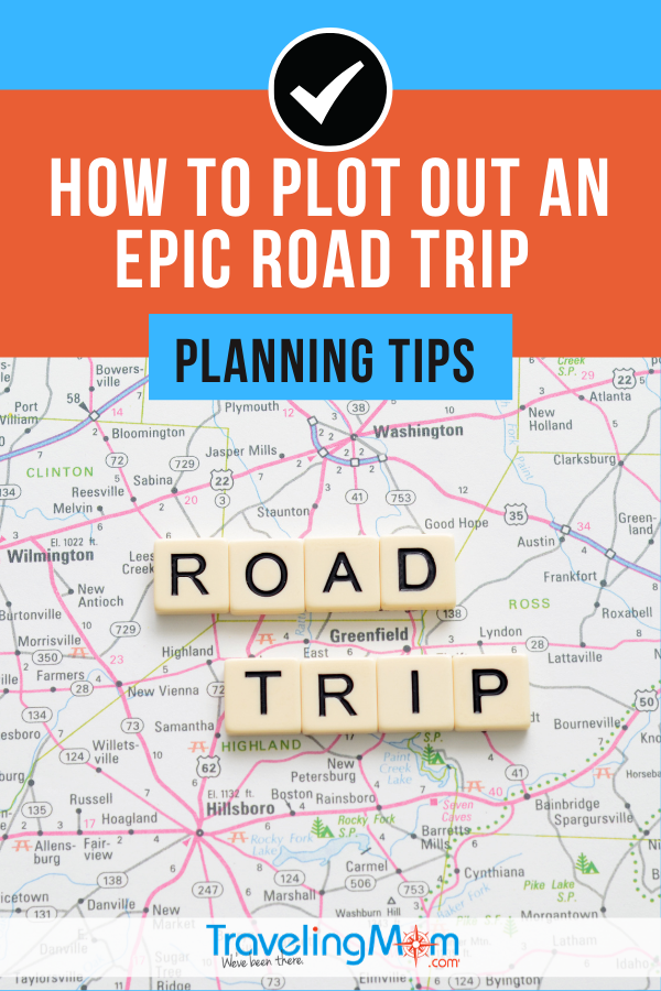 road map with road trip spelled out on top in scrabble tiles and the words how to plot out an epic road trip