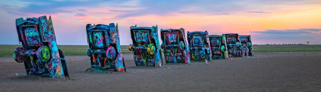 Cadillac Ranch is one of the epic Texas road trips
