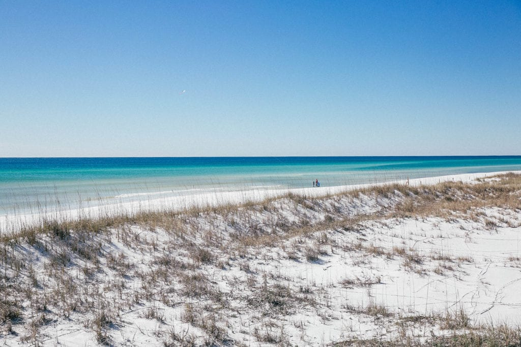 A view of the sand dunes in Destin, Florida