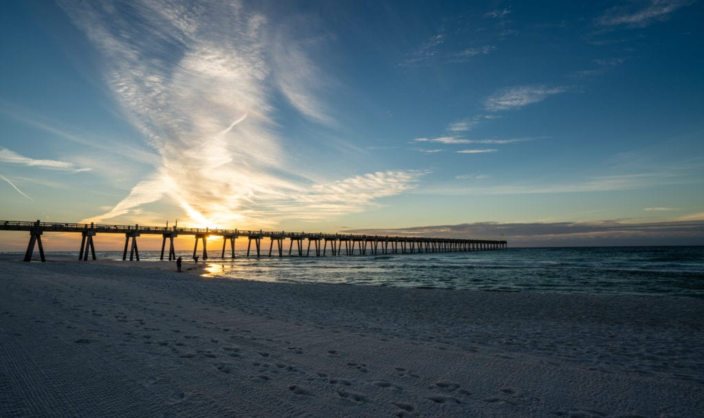 Pier in Pensacola, Florida at sunset. Florida vacation for families